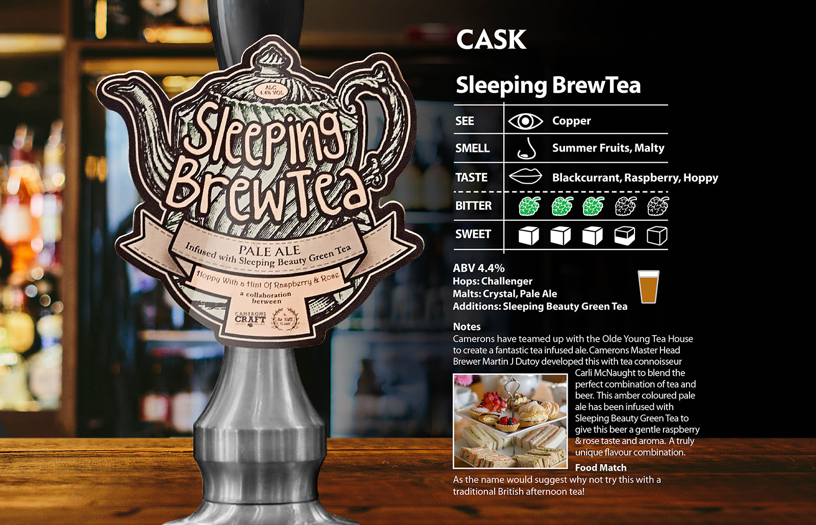 Sleeping brew tea - cask - camerons brewery