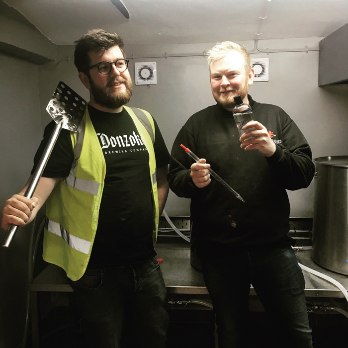 T&C Reece Hughill (left) With Simon Whittington Brewing The Mixed Fermentation Rhubarb Table Sour